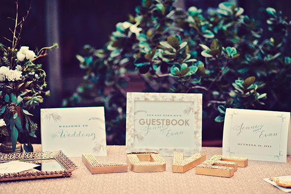 Gold Sequins Love Letters, Guest Book Table, Maui Wedding
