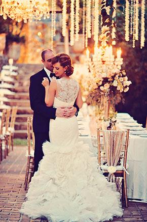 Crytal chandeliers and floral garlands, Hiaku Mill Wedding, Maui