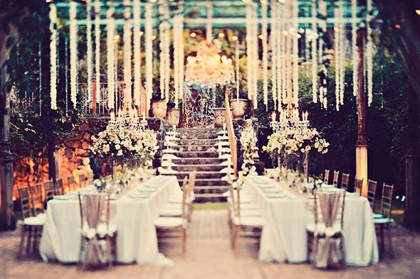 Wedding Reception, Haiku Mill, Hanging Garlands over Tables