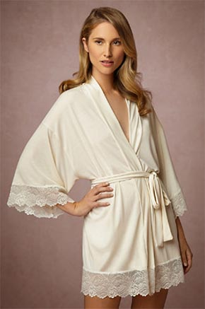 Bridal Robe by BHLDN, Ivory Silk Robe with lace
