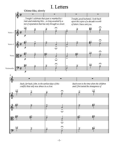 Abigail in the Colonies: A Song for John (string quartet score and parts)