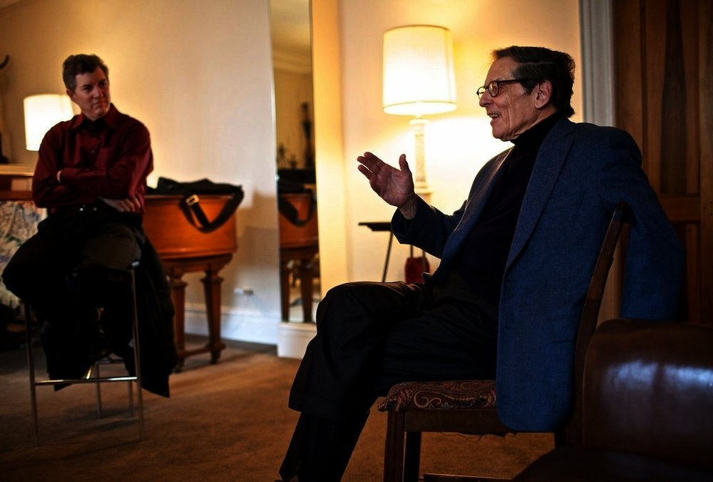Gary Fagin and Robert Caro in conversation. Photo credit by Benjamin Norman for The New York Times