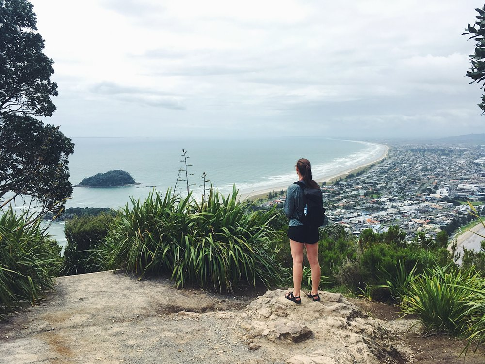 Lindsay at Mount Maunganui's summit
