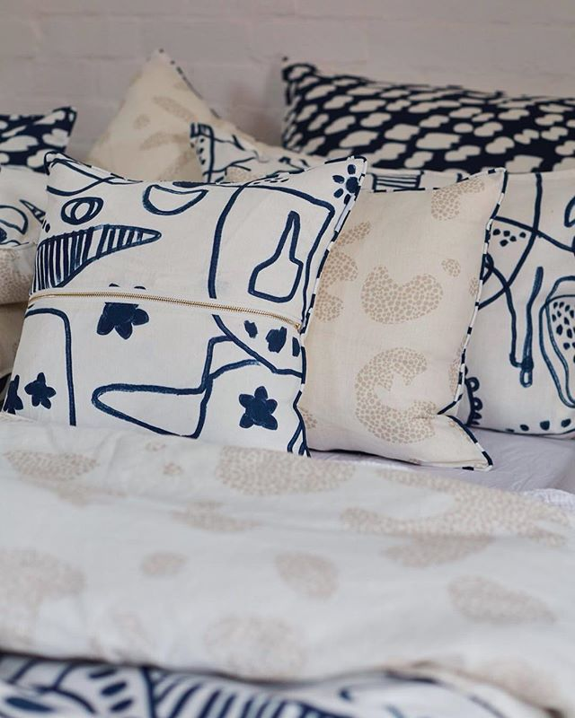 The new Slower Dawn collection is inspired by the beautiful West Australian coastline. The craggy rocks, dry coastal foliage and endless blue depth of water. #home #westernaustralia #textiles #textiledesign #linen #homewares #bedlinen #mondayvibes #beachcomber