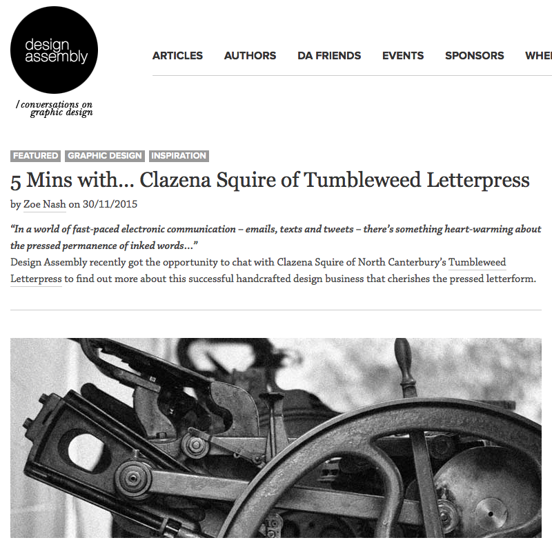 Tumbleweed Letterpress article link
