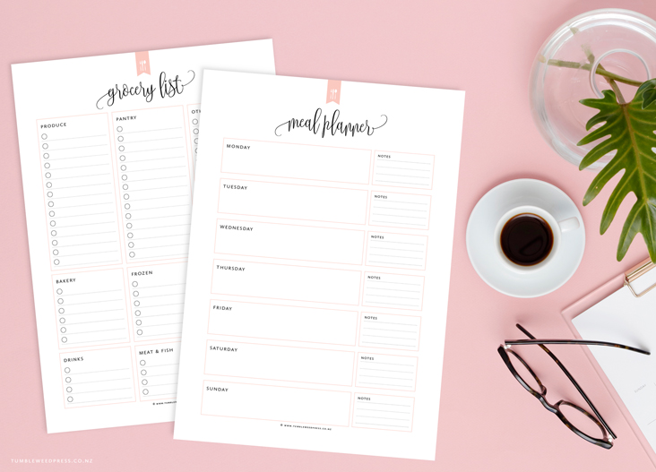 Meal Planner Printable by TumbleweedPress.Co