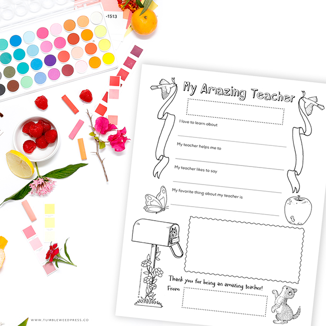 Teacher Appreciation Coloring Printable by TumbleweedPress.Co