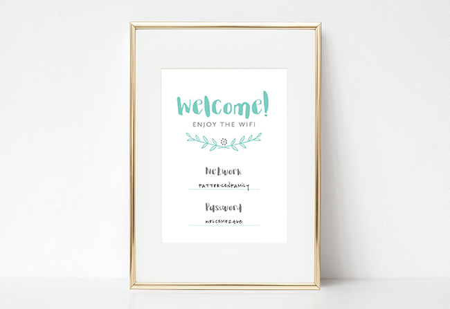 Guest Wifi Sign Free Printable by TumbleweedPressCo