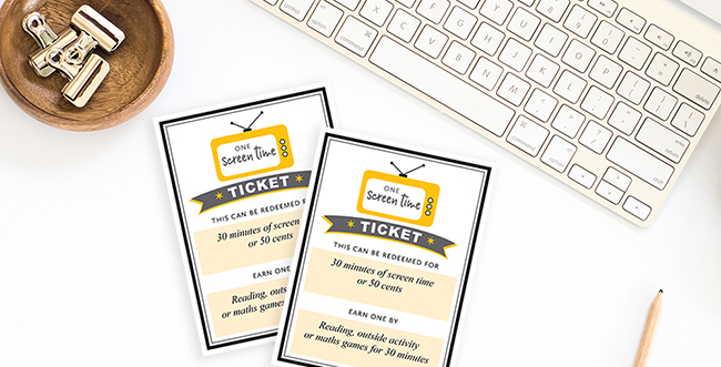 Screen Time Ticket Printable by TumbleweedPress.Co