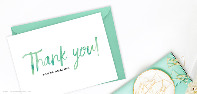 Free Printable Thank You Card by TumbleweedPress.Co