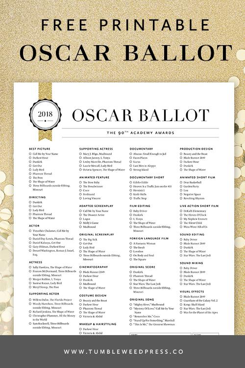 Oscar Ballot Free Printable by TumbleweedPress.Co
