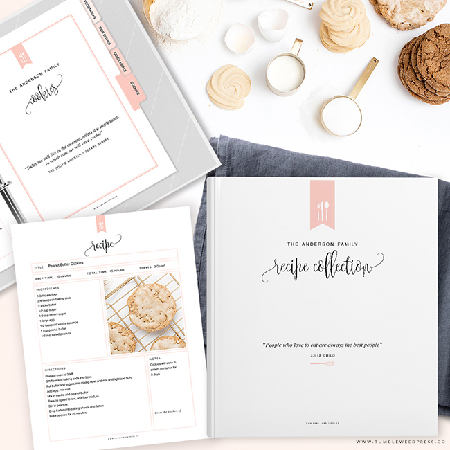 Printable Recipe Binder Kit by TumbleweedPress.Co