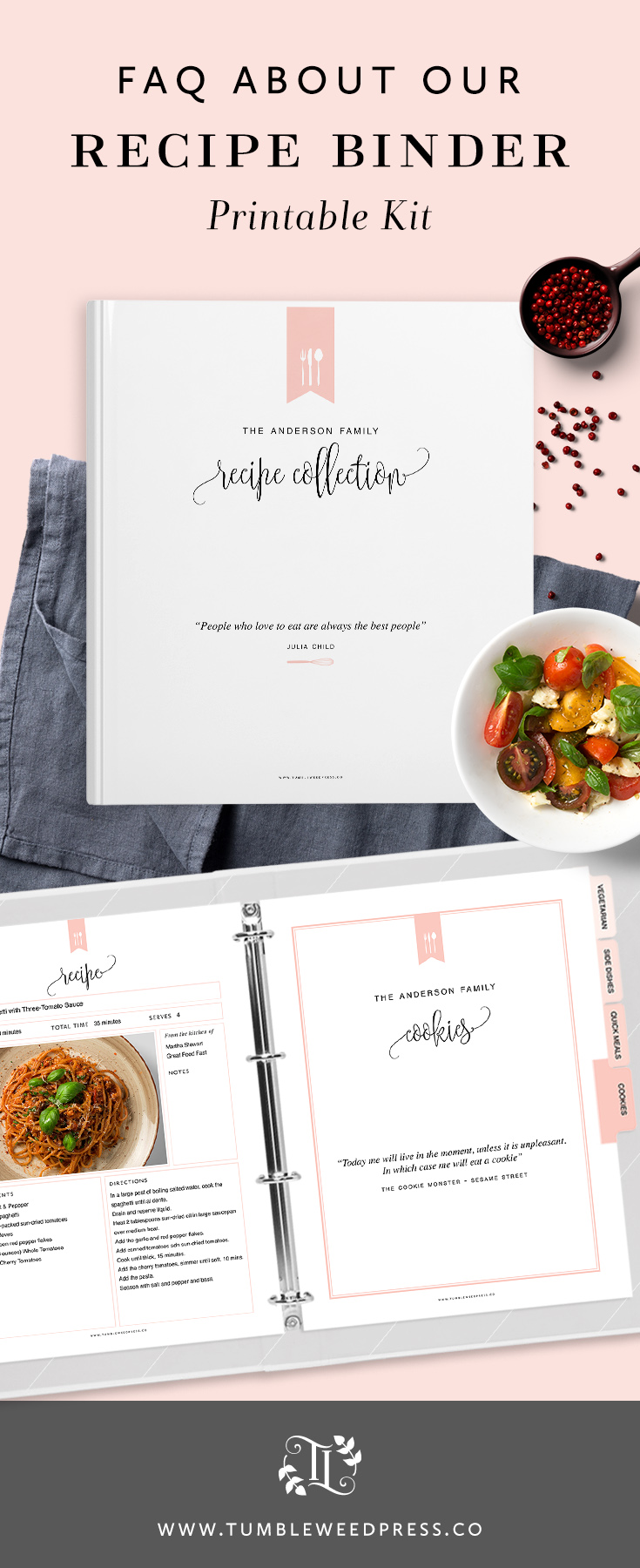 Recipe Binder Printable Kit FAQ Answered by TumbleweedPress.Co