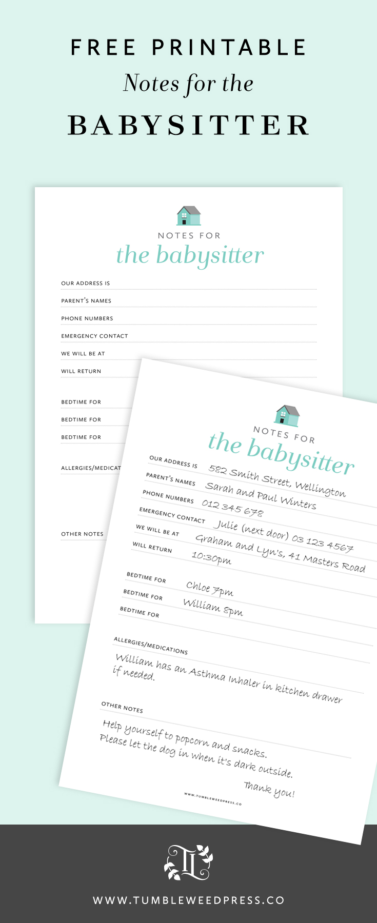 Free Babysitter Notes Printable by TumbleweedPress.Co