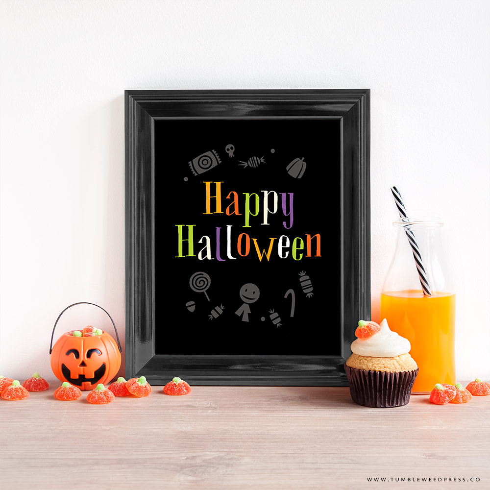 Happy Halloween Wall Art Printable by www.tumbleweedpress.co