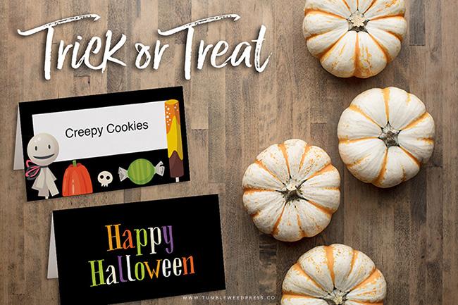 Halloween Printable Placecards by www.TumbleweedPress.Co