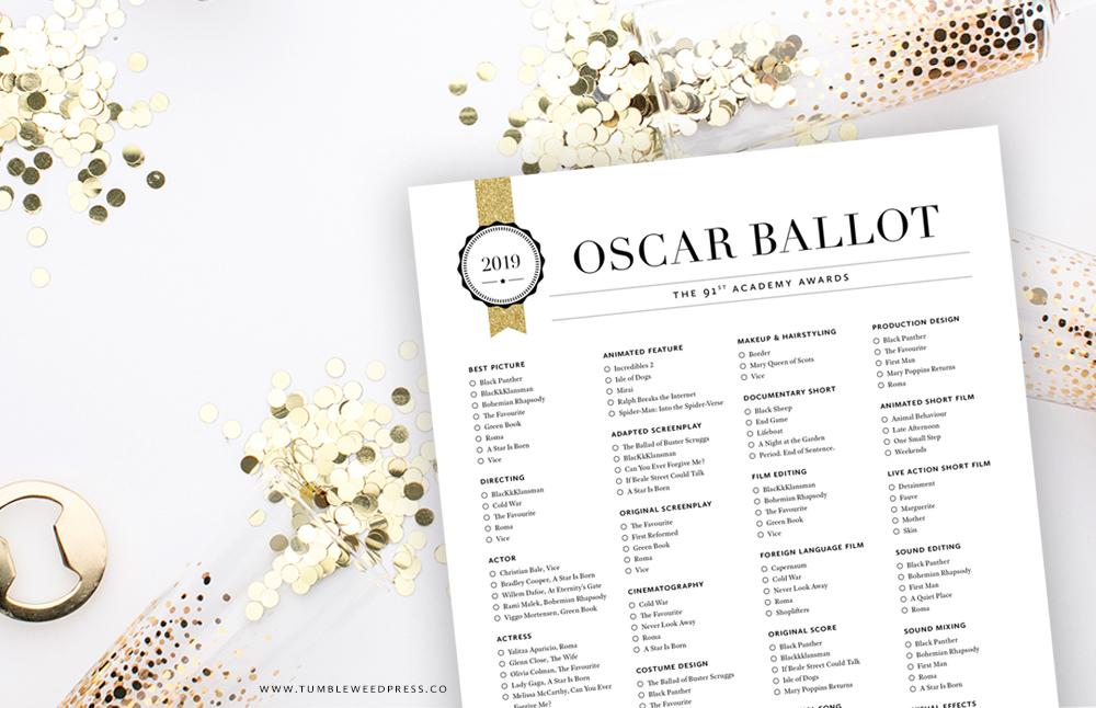 Oscar Ballot Printable For The 2019 Academy Awards Tumbleweed Press