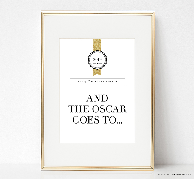 Oscar Party Printable Sign by TumbleweedPress.Co