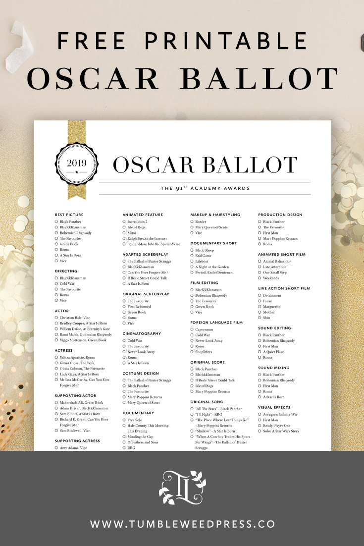 graphic relating to Golden Globe Ballot Printable named Oscars 2019 Ballot Printable