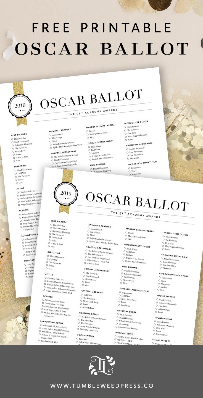 Free 2019 Oscar Ballot Printable by TumbleweedPress.Co