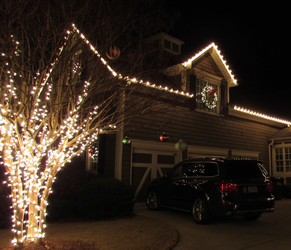 mini lights wrapped on crape myrtle roof line in c9 bulbs pre