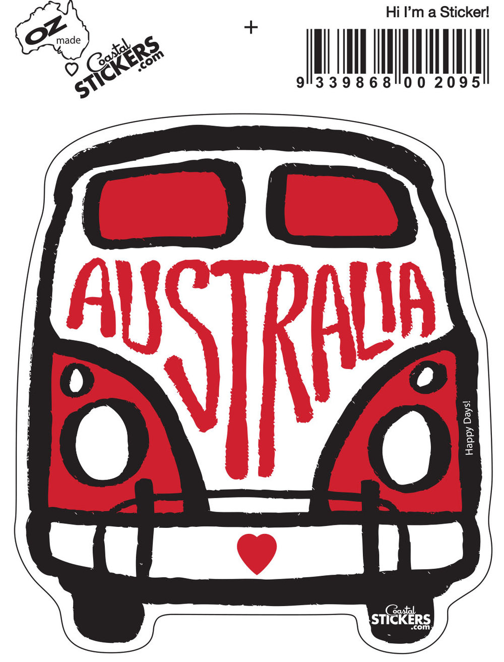 Kombi Australia Sticker   - Actual size of Kombi W8cm x H10cm.