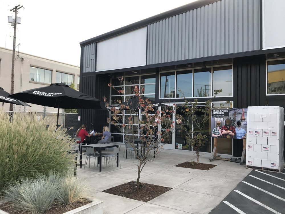 Front entrance and outside patio of House Spirits