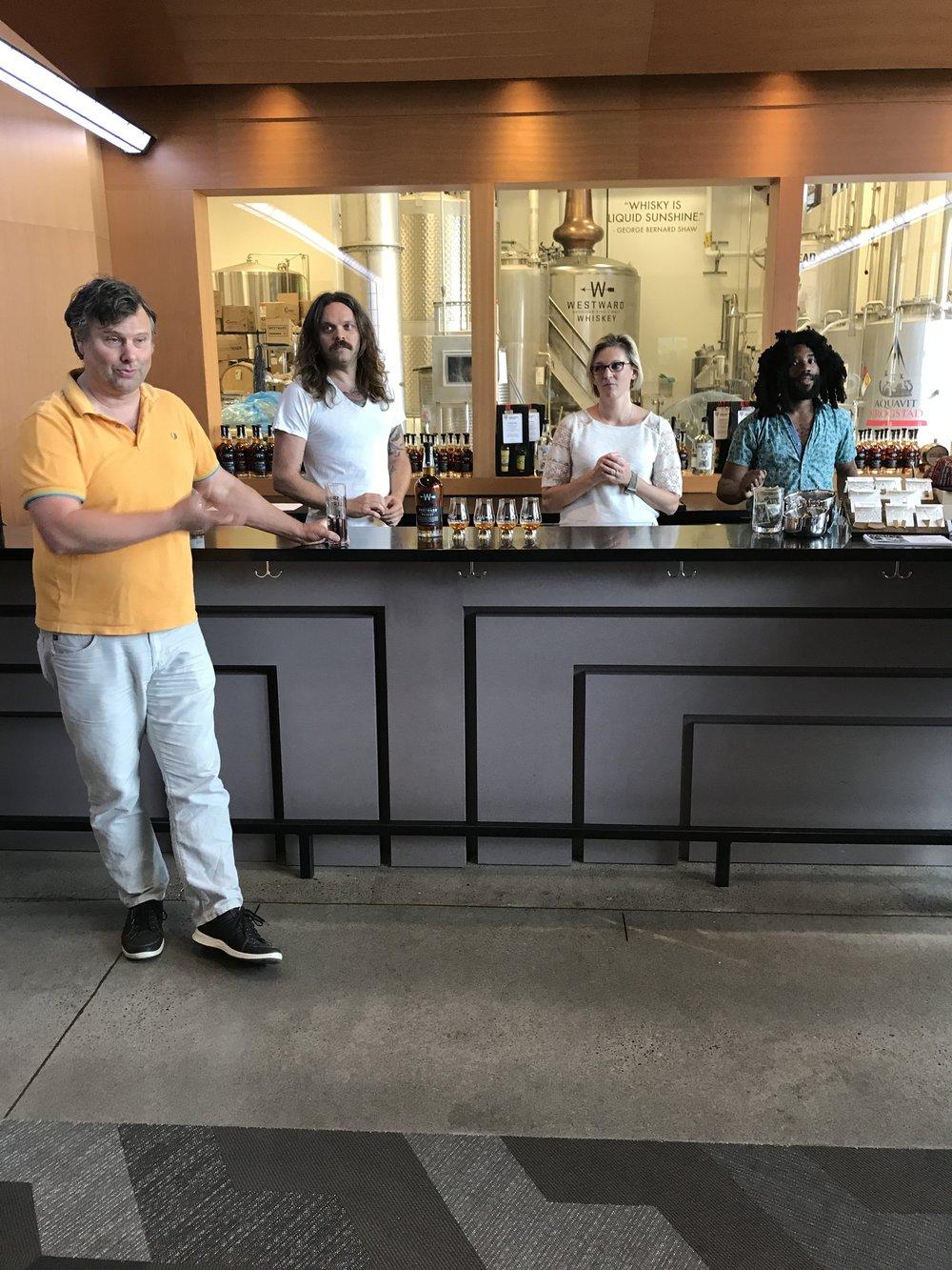 Christian Krogstad, Miles Monroe, and House Spirits staff.