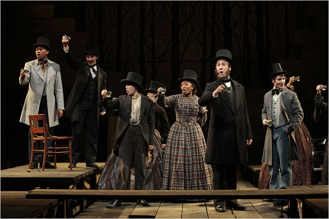 Bianca Laverne Jones (center) and the cast at the Long Warf Theatre