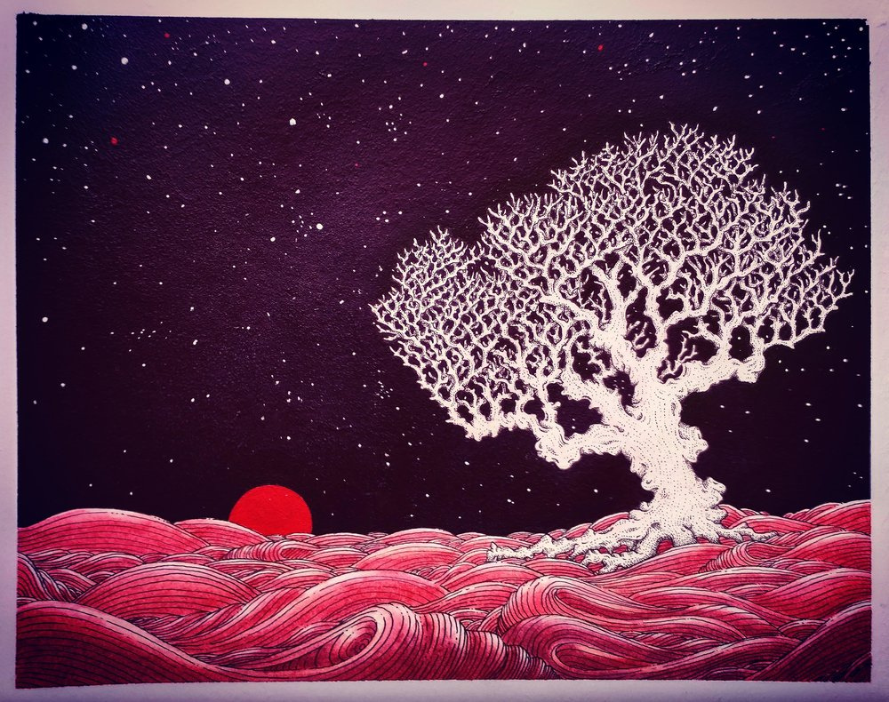 white tree red sun by Jack Scally