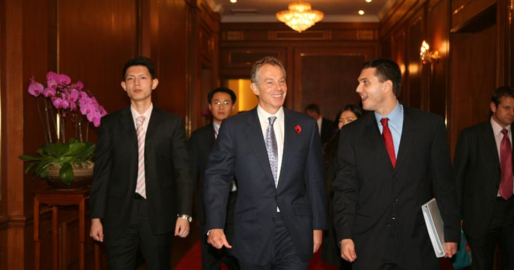 Joah Sapphire and Tony Blair leaving IFF
