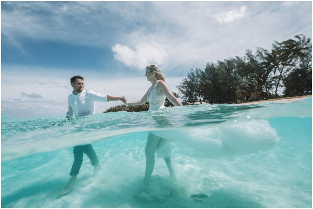 Leah + James    Lagoon Trash the dress session, Rarotonga - Cook Islands