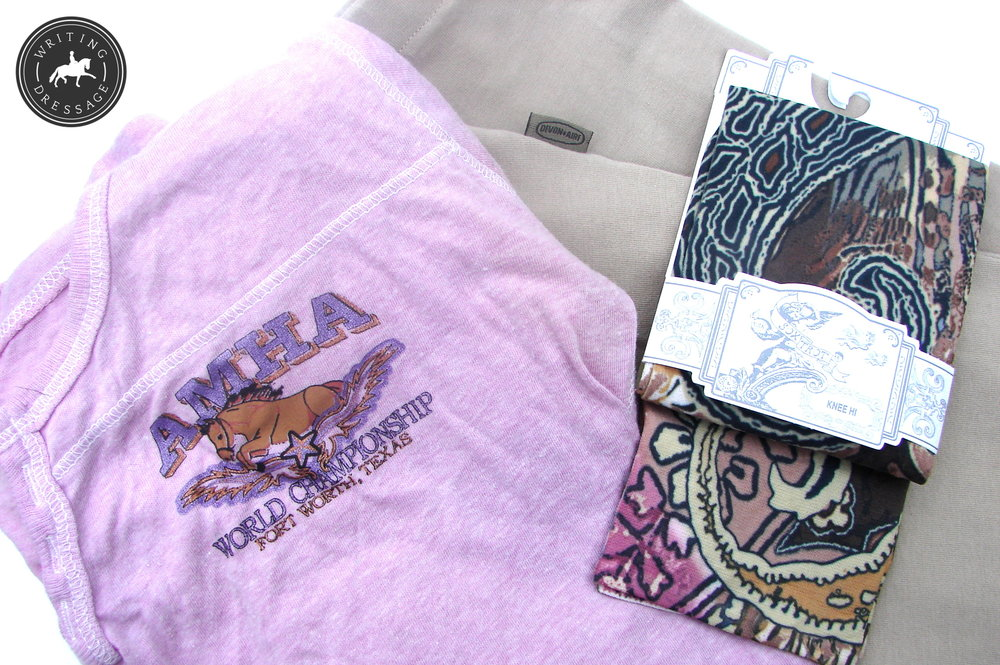Tribal print Soxtrot socks ($8.99); Devon Aire breeches, AMHA world show commemorative shirt.