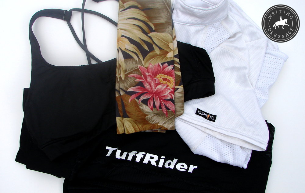 Tropical print Soxtrot socks ($8.99), TuffRider breeches, Kerrits riding shirt, Aerie sports bra.