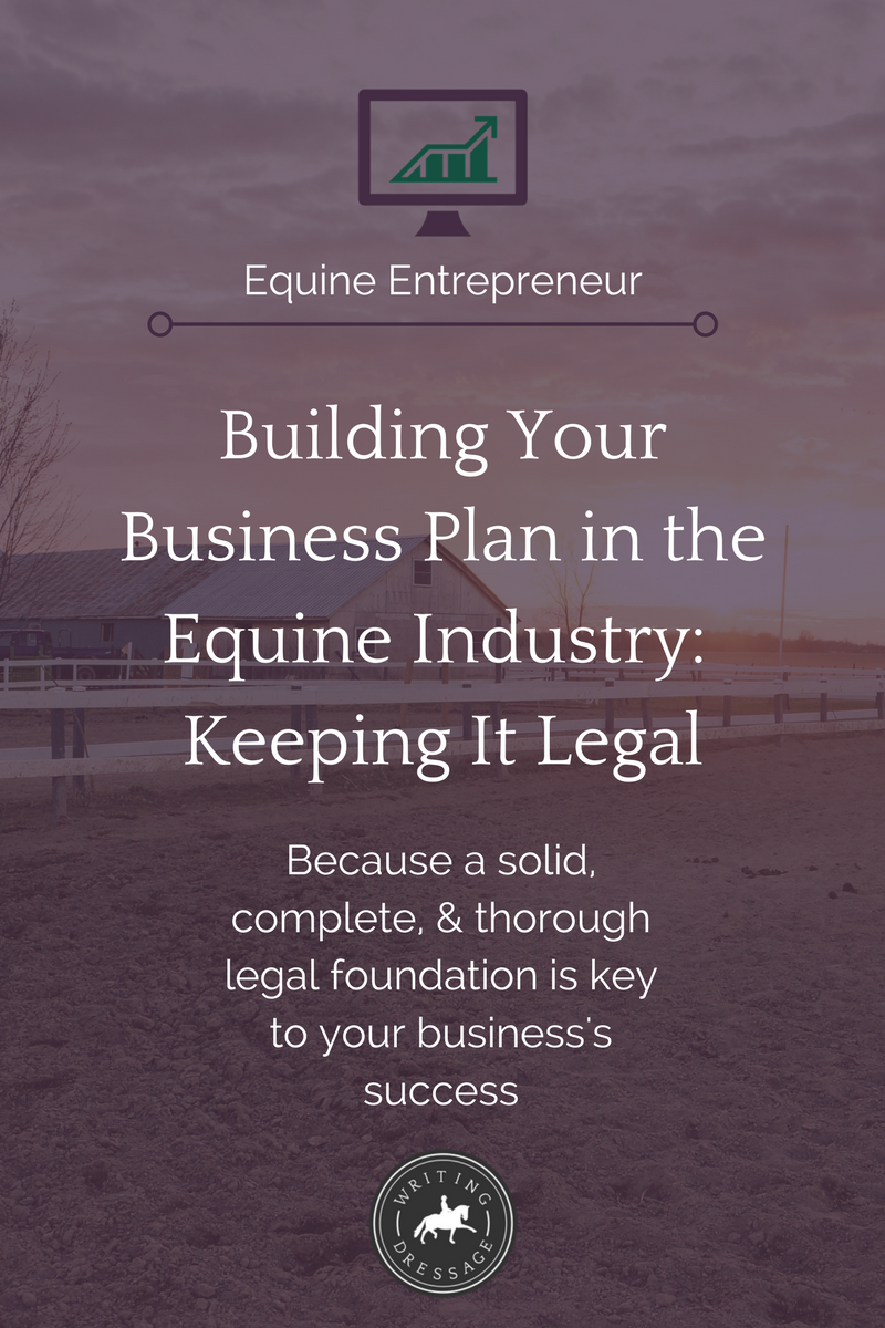One of the most important things you should consider when putting together your equine business plan is building a solid legal foundation. From paperwork to registered agents to business entities and more, there is much to consider. Click the pin to read more and download your free checklist.