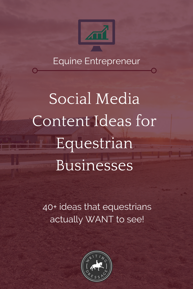 Social media content ideas for equestrian businesses, because not every post with 152+ ideas will work for the equine industry. These are sure to get your horse-loving followers' attention!