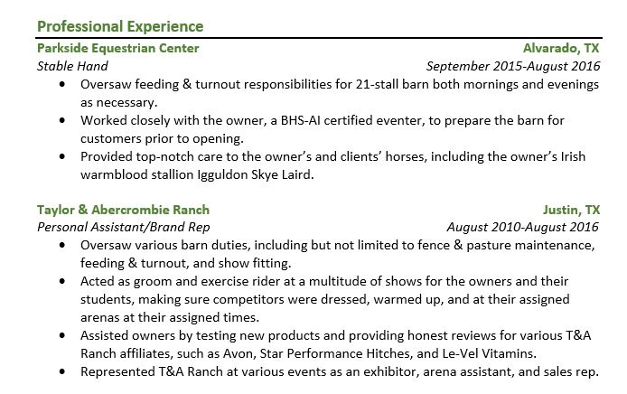 Writing resumes in the equine industry - Professional Experience example section.