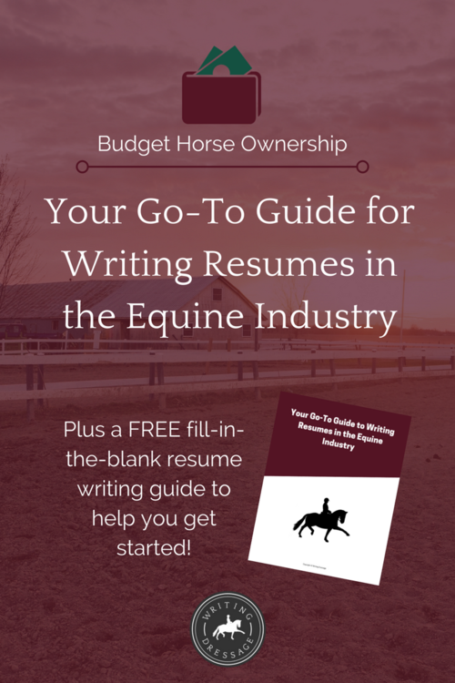 your go to guide to writing resumes in the equine industry writing