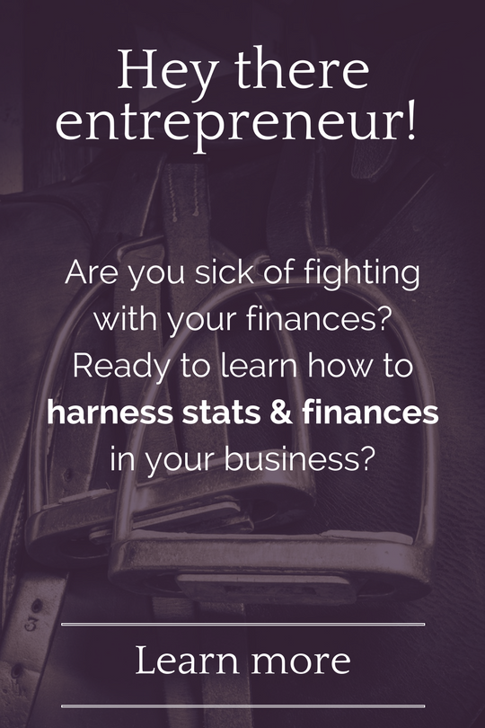 Hey there, equine entrepreneur! Are you sick of fighting with your finances? Ready to learn how to harness stats & finances in your business so you can spend more time at the barn? Click here to learn more about my new course all about smart financial planning & goal setting for equine businesses.