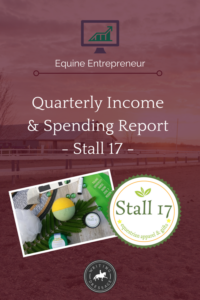 Quarterly Income & Spending Report - Stall 17, apparel & gifts for equestrians. In today's blog post, I'm looking at January-March 2018, both income and spending as well as several other statistics, to take a look at how this quirky online boutique serving equestrians is performing. Click the link to read more about it!