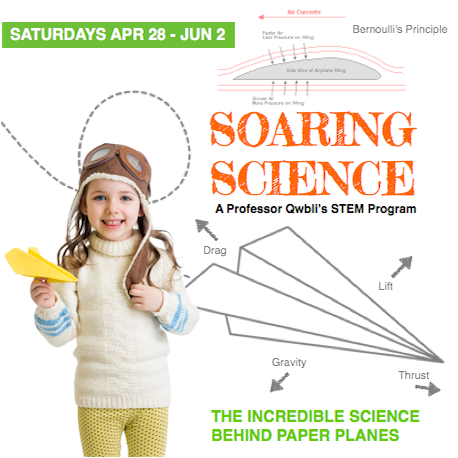 Soaring Science   April 28 - June 2 | Grades K-8 Saturdays 1:00 - 3:00