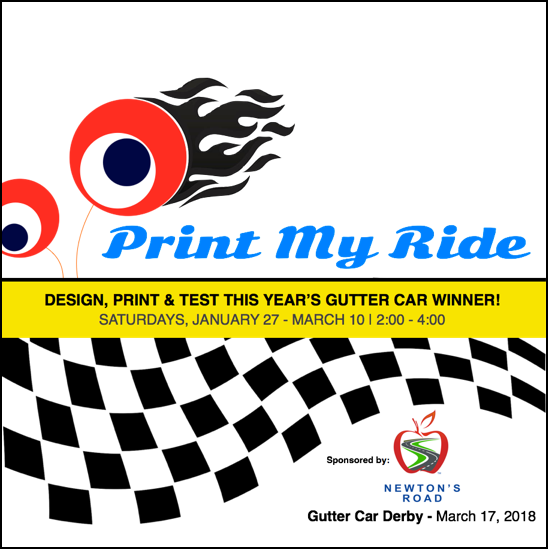 Print My Ride   January 27 - March 10 | Grades 4-8 Saturdays 2:00 - 4:00