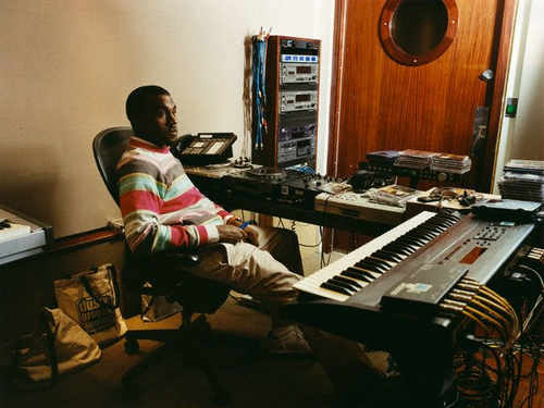 Kanye West in the studio.  Image via Tumblr.