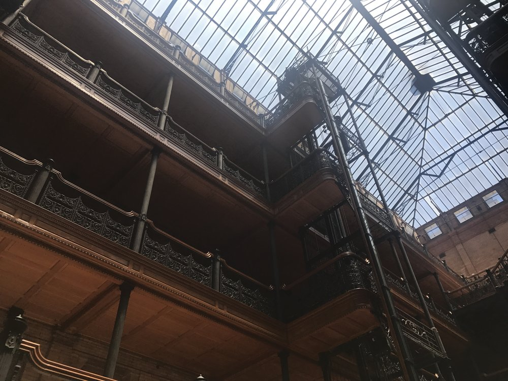 From the Bradbury Building in downtown LA. The building is a notable location in the original 'Blade Runner' film. I visited it earlier this summer.