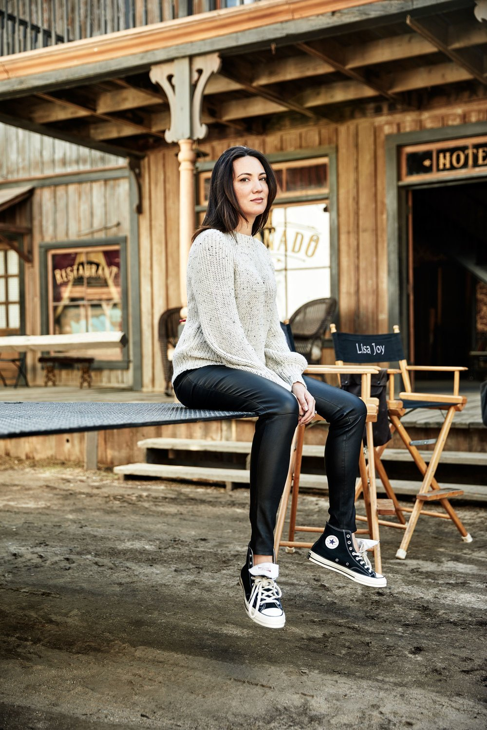 Lisa Joy on the 'Westworld' set. Image via Elle.