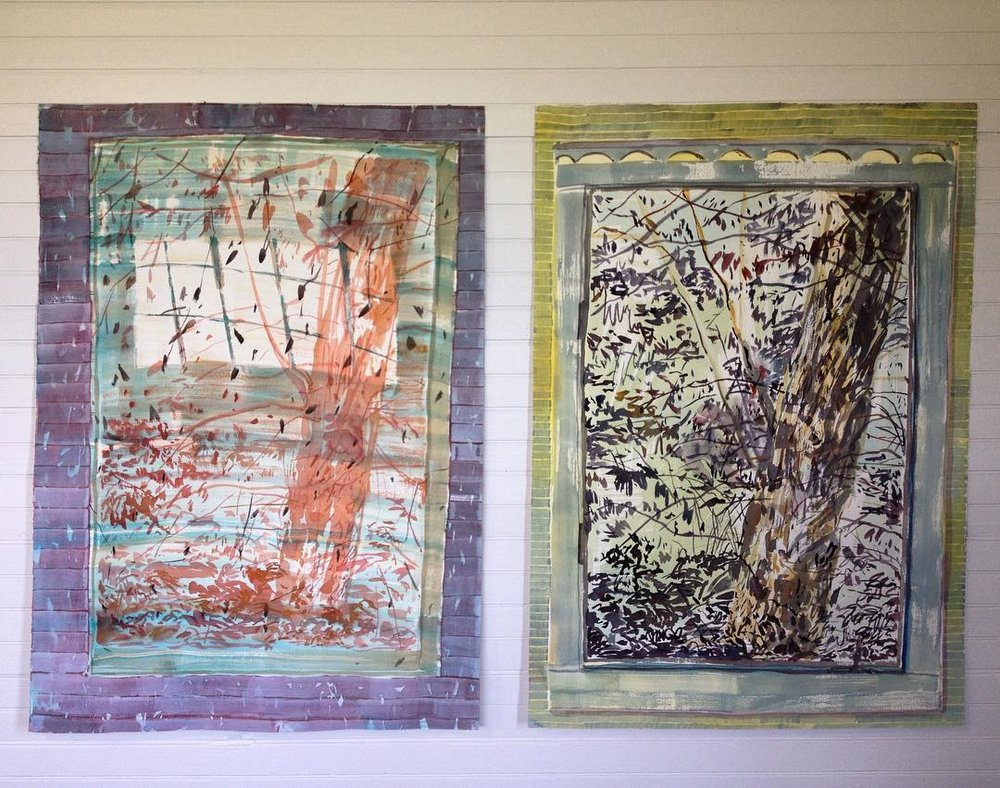 "en plain air watercolor paintings, 30 x 22"" each"