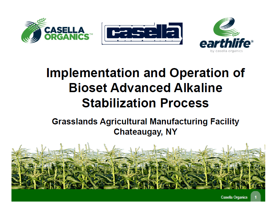 Implementation and Operation of Bioset Advanced Alkaline Stabilizine Process - Jeff Brinck, Casella Organics