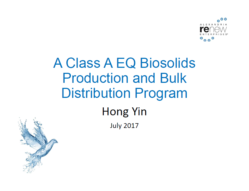 A Class A EQ Production and Bulk Distribution Program - Hong Yin, Alexandria Renew Enterprises