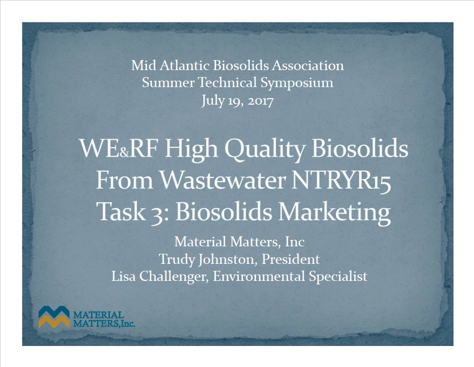 High Quality Biosolids from Wastewater - Johnston Trudy, Material Matters