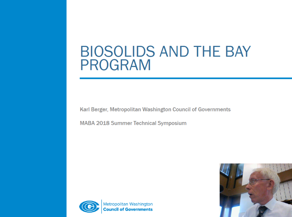 Biosolids and the Bay Program | Karl Berger, Metropolitan Washington Council of Governments